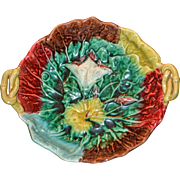 Antique English Majolica Morning Glory Footed Compote Bowl