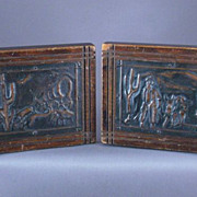 SALE Vintage Western Copper and Wood Book Ends