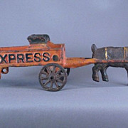 Cast Iron Toy Goat Ram Pulling Express Wagon