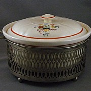 Vintage Crown Oven Ware Covered Casserole With Metal Serving Base
