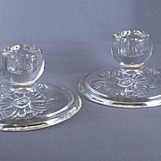 Pressed Glass Candle Sticks, Pair