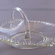 Vintage Imperial Glass Candlewick Heart Shaped Dish with Handle