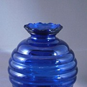 Vintage Cobalt Blue Glass Beehive or Ball Shaped Vase, USA