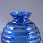 SALE Vintage Cobalt Blue Glass Beehive Shaped Vase, USA