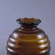 SALE Vintage Amber Brown Glass Beehive or Ball Shaped Vase, USA