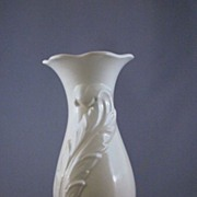 Vintage Pottery Vase with Feather Design, U.S.A.