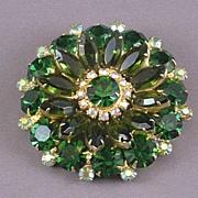 Vintage Round,Green Rhinestone Brooch, 1950's-1960's