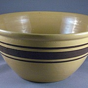 Vintage Yellow Ware Mixing Bowl With Brown Bands
