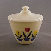 Fire King Tulip Pattern Grease Bowl With Lid