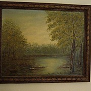 Vintage Landscape Oil Painting By Marjorie Henneberg