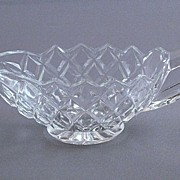 Vintage Pressed Glass Creamer In A Diamond Pattern