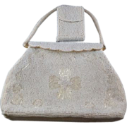 Vintage White Beaded Purse with Beaded Cigarette Case 1960's