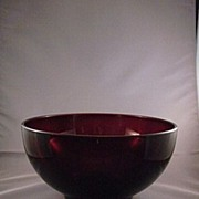 Vintage Red Glass Salad Bowl