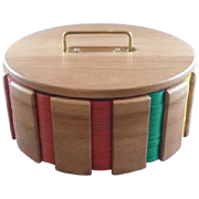 Vintage Wood Revolving Poker Chip and Card Caddy