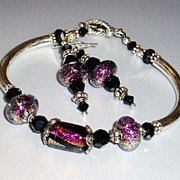 Razzle Dazzle 'Em~ Lampwork Bracelet and Earring Set