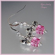SOLD Holiday~ Rose Swarovski Bow Earrings