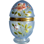 Glass Egg Casket Hand Painted Enamel Decor ca. 1900 - Large!