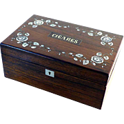 SALE French Cigar Box Rosewood and Mother of Pearl Inlays ca. 1900