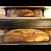 SOLD Handmade Painted Wall Shelf Poker Work Art Nouveau Era