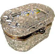 SOLD Cut Glass Casket Hand Painted Lid Forgot-me-not Flowers