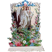 German Die-Cut Fold Out Card 3D Two Angels
