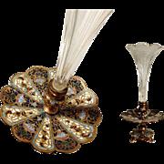 19C Delightful French Spill Vase Crystal Goblet  Bronze & Enamel Mount