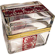 SALE Engraved Bohemia Crystal Box Clear Glass Ruby Motifs