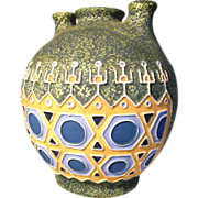 Stunning Pottery Vase Geometrical Shape & Three Mouths ca. 1920