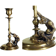 SOLD French Brass & Bronze Candle Holder Monkey ca. 1880
