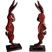 Lovely Easter Display Decoration – Gentlemen Rabbit Hare Hand Carved