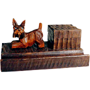 Small and cutie Desk Set Scottie Hand Carved
