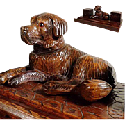 SALE Hand Carved Ink Well Reclining Dog Labrador Black Forest ca. 1900/20