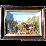SALE Early Biedermeier Diorama Shadow Case Landscape Bog and Grass