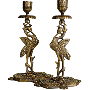 Candle Holder Pair Cranes ca. 1900