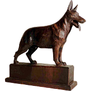 SALE Large Hand Carved German Shepherd Male Dog  ca. 1920