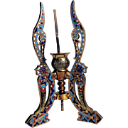 19th Century Egyptian Revival Candle Holder Bronze and Enamel Work