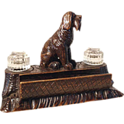 Hand Carved Desk Set Giant Schnauzer Black Forest