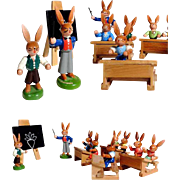 Cute Easter Display Miniature  Bunny School Hand Crafted Erzgebirge
