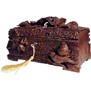 Rare 19th Century Hand Carved Jewelry Casket Birds Black Forest