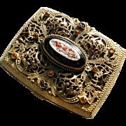 Elegant Case Micro Mosaic Medallion Foliate Design Paste Stones Open Work