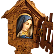 Hand Carved Wooden Shrine & Painted Porcelain Plaque  Holy Water Stoup