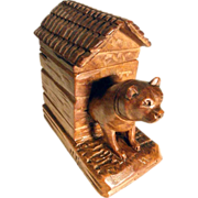 SOLD Hand Carved Dog Bully and his Kennel Black Forest Pen Holder