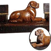 SOLD Lovely Hand Carved Desk Set Saint Bernard