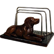 SOLD Hand Carved Wooden Letter Rack Laying Pointer Black Forest