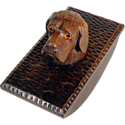 Wooden Blotter w. Adorable Knob Dog Head Shape