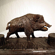 Hand Carved Desk Set Boar ca. 1900 Black Forest