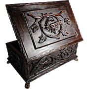 19th Century Hand Carved Document Box Casket