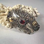 SALE Amazing Hand Crafted Silver Brooch Bohemia Garnet ca. 1900