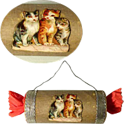 SOLD Delightful  Candy Container Christmas Bonbon Kitten Dresden Cardboard