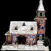 SOLD Delightful Large Church German Light House Dresden Cardboard